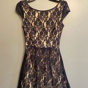 Mini Navy Lace Wedding Guest Dress